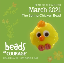 March 2021 Bead of the Month - The Spring Chicken Bead reminds you to make every day egg-cellent!